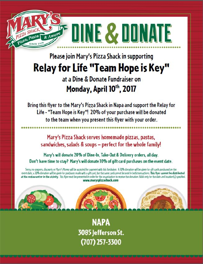 Mary's Dine and Donate for Hope is Key