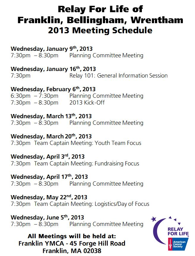 Franklin Mtg Schedule 2013