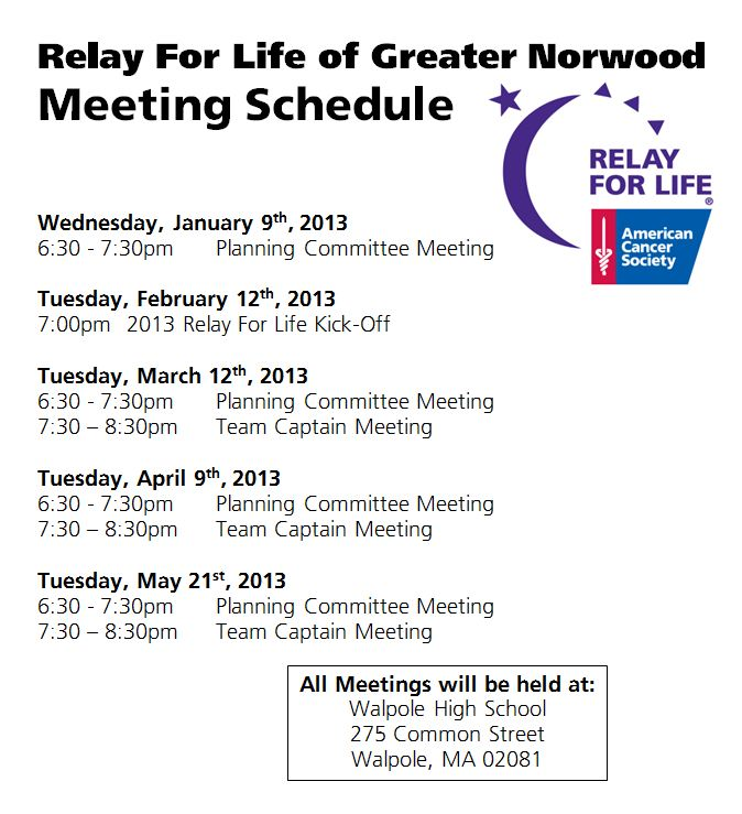 mtg schedule 2013 norwood